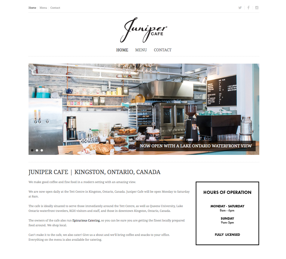 JUNIPER CAFE WEBSITE DESIGN